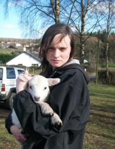 Me and one of the lambs, now known as 'Maizies lamb' 2012