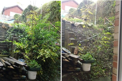 Kitchen Bank: before (left) and after (right) being cleared - October 2012