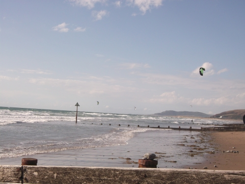 Kite surfer; Borth beach August 2013