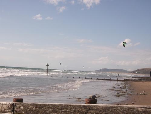 Kite surfer; Borth beach August 2013